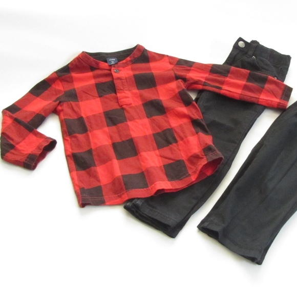 f06573352cd96 Lot Baby Gap Red Plaid Flannel HM Black Pants 3T